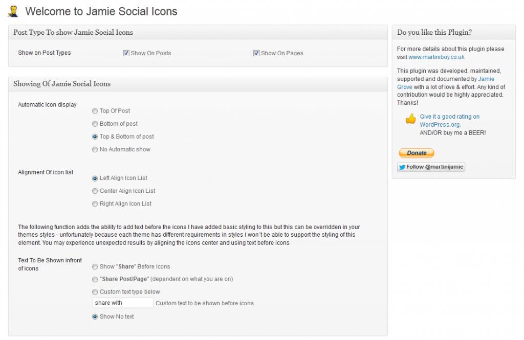 jamie social icons settings