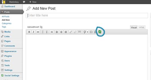 Social Icons TinyMCE button